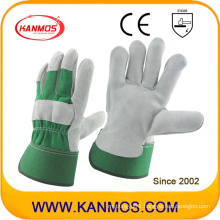Green Industrial Safety Cow Split Leather Work Gloves (110093)