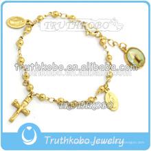 Joyas religiosas Alto Polaco Brillante Oro Medalla cruzada Eslabones Cadena de Eslabones de AMOR Cristo Jesús pulsera