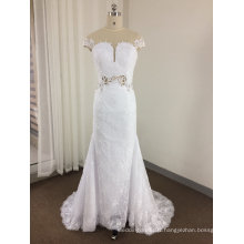 A Line See Through Lace Keyhole Wedding Dress