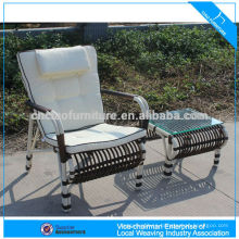 Modern patio furniture aluminum rattan garden wicker chair with table