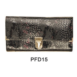 Black print snake skin PU hand bag with button for makeup kit
