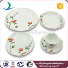 Branco rodada forma flor decalques porcelana jantar set