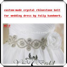 AC-2 hecho por encargo hermoso marco de cristal cinturón de imitación para el vestido de novia