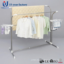 Stainless Steel Double Pole Telescopic Clothes Hanger with Extra Clips