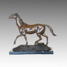 Animal Bronze Sculpture Horse Craft Decor Brass Statue Tpal-462
