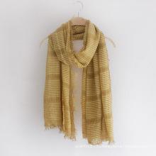 Леди мода полосатый обычный Цвет вискоза Шелковый шарф (YKY1152)