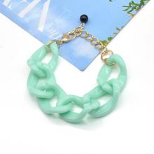 Custom color curved hoop cute link chain acrylic women bracelet