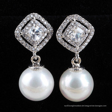 Perlenohrring Silber Zirkonia Diamant Ohrringe