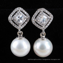 Pearl Earring Silver Cubic Zirconia Diamond Earrings