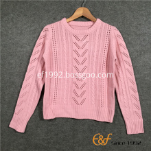 Plain Classic Pointelle Structure Women's Sweaters