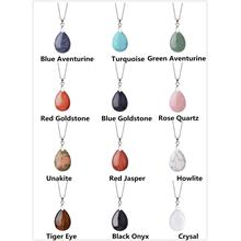 Natural Semi Precious Gemstone Waterdrop Pendant Necklace