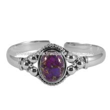 Púrpura turquesa piedra preciosa 925 brazalete de plata esterlina