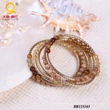Trendige große Spule Armband gemacht von Achat, Shell, Crystal (BR125163)