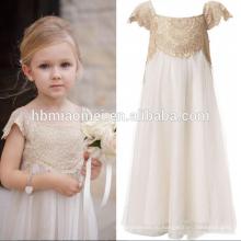 2016 новый дизайн кружева с коротким рукавом девочка свадебное платье