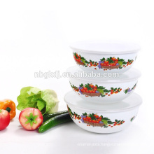 enamel decal ice bowl, food bowl with PE lids