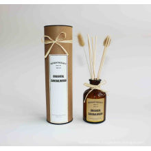 Brown glass 100ml reed diffuser with flower in kraft package for home