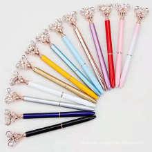 Girlish Rhinestone Clover Pen Rose Gold Jeweled Crystal Pens Chromatic Butterfly Ball Pen Kawaii Stationery For Girls