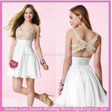 HE10022 uma linha de vestidos de baile branco halter chiffon elegante vestido de baile curto com zíper de volta real imagem vestidos de noite