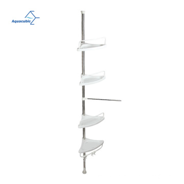 Bathroom Telescopic Corner Shower Shelf Caddy Pole 4 Tier Plastic Shower Shelf Soap Holder