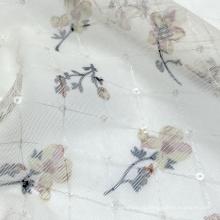 Изготовленный на заказ цвет 100% нейлон с цветочной печатью с алмазной проверкой вязаная ткань с мелкими блестками