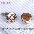 VAGULA Designer Round Stainless Steel Red Wood Cufflinks 361