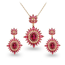Red Stone Hot Sale Environmental Copper AAA CZ Jewelry Sets