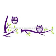 PVC wall sticker, owl at tree design