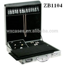 New arrival aluminum jewelry case with trays inside for ring,necklaces and earrings