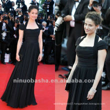 Dignified Black Sheath Floor Length Short Sleeves Halter Pleated Celebrity Dress Party Gown