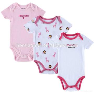 Cute Cotton Baby Girls Pink White Printing Onesie 3 pack Baby Clothes Set Romper Newborn Baby Tutu Romper