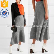Flared com nervuras lã Midi saia fabricação atacado moda feminina vestuário (TA3011S)