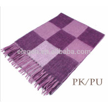 Checks plaid pattern multicolor wool double sided scarf with fringe