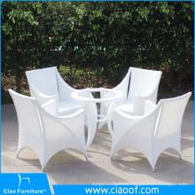 Роскошный Открытый Белый Ротанга 4 Местный Обеденный Стол
