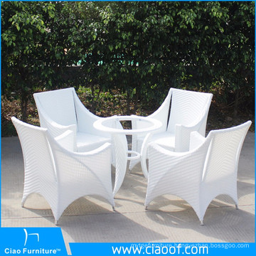 Luxury Outdoor White Rattan 4 Seaters Dining Table