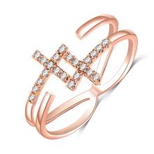 Gold Hochzeit seitwärts Kreuz einstellbare Ringe für Frauen (CRI0526)