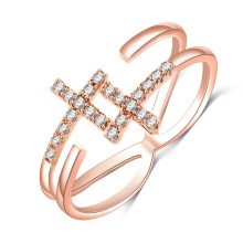Gold Wedding Sideways Cross Adjustable Rings for Women (CRI0526)