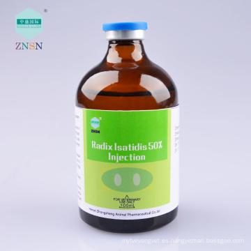 Radix Isatidis 50% inyectable para la gripe porcina, los lechones, la pullorosis, la neumonía y algunas enfermedades febriles