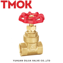 full port double internal thread with red hand wheel brass gate valve
