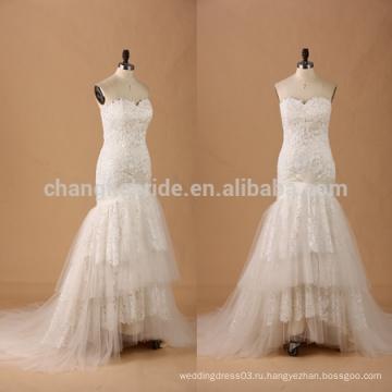 Милая труба кружева Раффлед свадебное платье свадебное платье с кружевом кабриолет
