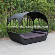 New Design Outdoor Rattan Sun Lounger With Canopy & Cushion