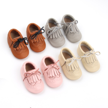Mjuk Sole Baby Moccasins Girl Leather sko