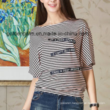 Women′s Fashion Stripe Custom Design T-Shirt with Navy Style