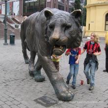 Bronzefarbene lsu Tigerstatue der wilden Tierskulptur der im Freiendekoration