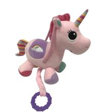 Rosa de brinquedo musical de unicórnio de pelúcia
