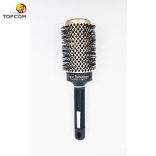 Nano Керамическая круглая щетка для волос с натуральной щетиной из хряка для сушки щетиной