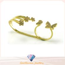 La manera al por mayor Butterful y oro de las flores plateó el anillo de la joyería de la plata esterlina 925 (R10408)