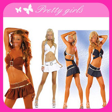 Sexy Dance Clubwear Costume with Bustier & Mini Skirt