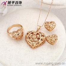 62843 Moda Especial Sem Pedra Em Forma De Coração Conjunto De Jóias De Ouro