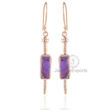 Brincos de turquesa de cobre roxo lindo, jóias de turquesa Gemstone Gold Earrings para mulheres