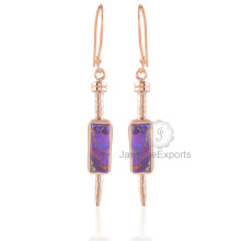 Красивый Фиолетовый Меди Бирюзовый Серьги, Бирюза Драгоценный Камень Розовое Золото Серьги Ювелирные Изделия Для Женщин